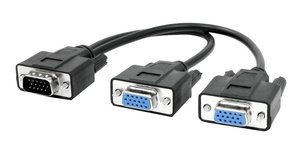 POWERTECH splitter VGA 15pin HD Male σε 2x Female